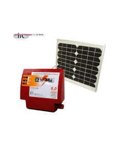 Eletrificador 12V/110-220V - S6000-COM - 6 Joules + Painel solar 50W com suporte completo