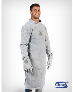 Avental com mangas, Modelo Barbeiro, Em raspa, 120x60cm - Zanel