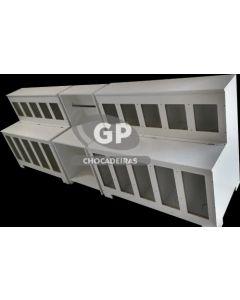 KIT 2 EXPOSITORES DE RAÇÃO RETO com 10 divisórias e 01 balcão para balança - GP Chocadeiras